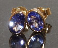 9CT YELLOW GOLD  OVAL  CUT 1CT TANZANITE  STUD EARRINGS BUTTERFLY BACKS