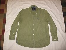 American Eagle Men's Vintage Fit Green White Striped Button Up Shirt Size XXL