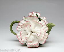 COLLECTIBLE PORCELAIN WHITE AND PINK CARNATION FLOWER TEAPOT-8OZ+NEW IN BOX