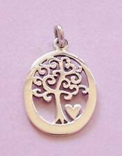 Tree of Life with Love Heart Pendant Charm STERLING SILVER