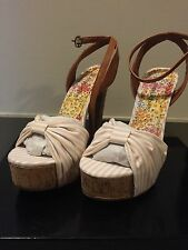 Just Fab heels US shoe size 8 pink/white striped summer shoe multi-color