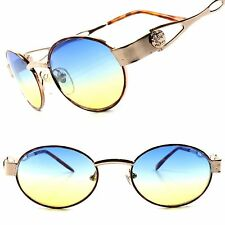 True Vintage Deadstock Blue & Yellow Two Tone Lens Gold Womens Oval Sunglasses