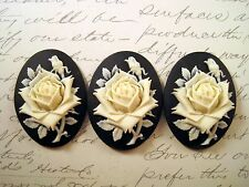 40x30mm Rose Cameos (3) - L854-3 Jewelry Finding