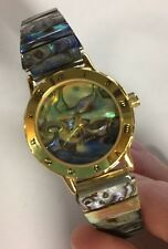 Women's Genuine Abalone Stretch Band Watch Roman Numerals (Needs Batteries)
