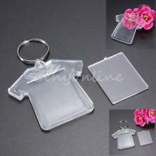 5 Transparent T-Shirt Blank Plastic Insert Photo Picture Frame Key Ring Keychain