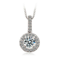 Round Cut White Sapphire Pendant Chain Necklace 10k White Gold Filled Jewelry