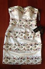 NEW TERANI COUTURE 11031H SHORT IVORY MULTI COLOR JEWEL COCKTAIL EVENING DRESS 0