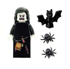 LEGO Minifig Female Vampire Glow in Dark Head & 2 Spiders & Bat NEW Halloween