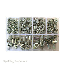 Assorted M3, M4, M5, M6, M8 & M10 Metric Zinc Plated Nutsert Rivnut Rivet Nuts
