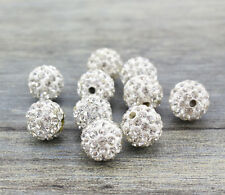 Wholesale 100 Pcs Cz Crystal Shamballa Beads Pave Disco Balls White Color 10MM