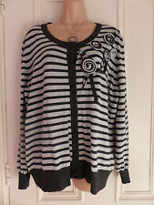 Roman size 18 light and dark grey striped jumper with 3D flowers on the chest