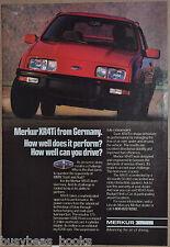 1987 MERKUR XR4Ti advertisement, Mercury Merkur XR4Ti, Ford Lincoln import