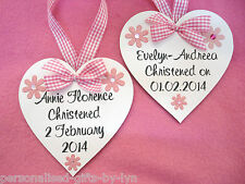 Personalised Wooden Heart Plaque - Christening Gift - Keepsake - Add Any Message