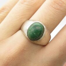Vtg 925 Sterling Silver Real Green Turquoise Gemstone Ring Size 8.5