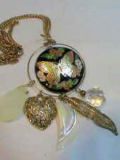 Gold Tone Cloisonné Butterfly Pendant Charm Necklace, feather, and heart