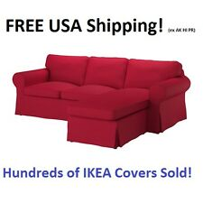 Ikea EKTORP 3 Seat Sectional (Loveseat w/ Chaise) Cover Slipcover NORDVALLA RED