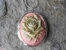 STUNNING CREAM ROSE ON PEACH, CORAL, PINK HAND PAINTED GOLDEN CAMEO LOCKET