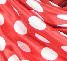 "Polka Dot RED White SHINY SATIN 100% Polyester Pantie Lingerie Farbic 60"" BYD"