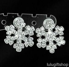 18K WHITE GOLD PLATED SNOWFLAKE SNOW STUDS EARRINGS USE SWAROVSKI CRYSTALS