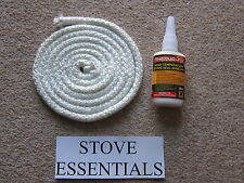 9mm Door Rope Seal Fire Rope 2 Metre Kit white hard with 50ml Glue