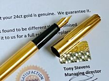24ct Gold Plated Metal Parker Frontier Fountain Writing Pen 24k Gift Box ink