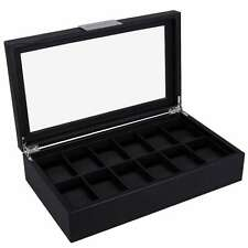Mens Watch Box 12 Slots Carbon Fiber Large Display Case Black Storage Organizer