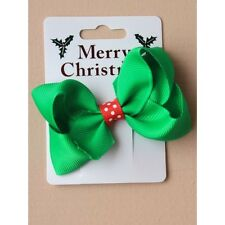 NEW  Green crossgrain ribbon bow with red spots clip Christmas Hair accessory