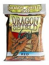 50 PROTECTIVE SLEEVES Red Rosso MTG MAGIC Dragon Shield