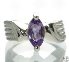 Solid 925 Sterling Silver Marquise Cut Genuine Amethyst Ring Size-7 '