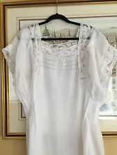 Antique 1910 French Lace Nightgown Pure Linen Pintucks Handsewn Never Used
