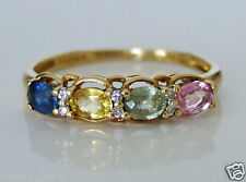 Beautiful 9ct Gold Blue, Yellow, Green & Pink Sapphire & Diamond Ring Sz P 1/2