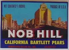 1970s Nob Hill San Francisco Pear Fruit Crate Label