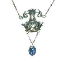 VICTORIAN SEA DRAGON NECKLACE Czech Glass Blue Fire Opal Drop Silver Pl Lavalier