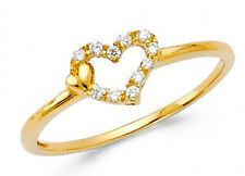 14K Genuine Yellow Gold Fancy heart Ring with Man made Diamonds