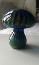 Vintage Mdina Art Glass Stunning Mushroom in Green and Yellow strands maker mark