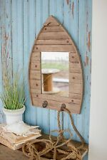 Beach House Jewelry keys hat hook RECYCLED NATURAL WOODEN BOAT SHAPE MIRROR