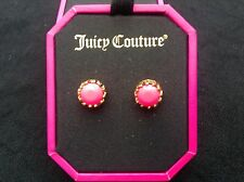 NIB Juicy Couture New Genuine Gold Plated Neon Pink Gem Stud Earrings (Pierced)