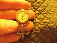 Vintage Cort Lapel Watch 10K.R.G.P. Bezel Sterling Fleur de Lis Brooch