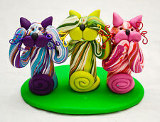 USA-Made Hear/See/Speak No Evil Cats Figurine Crafted from Polymer Clay by Piña