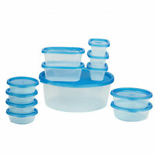 Food Storage Container Set 24 Piece Blue BPA Free Plastic Microwave Safe