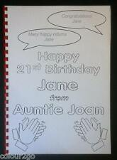 A4 Personalised 18th or 21st Birthday COLOURING BOOK Fun Present Gift Topsa card