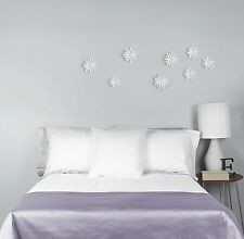 Umbra Delica Wall Decor White Flowers Adhesive Plastic Set of 8