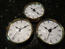 "3 PAK - 3-1/8"" (80MM) QUARTZ CLOCK FIT-UP/Insert,Gold Trim,Roman,White Face, HMS"