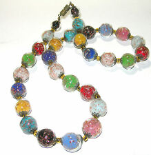 PRETTY VINTAGE ENCASED VENETIAN GLASS ITALY NECKLACE BLUE GREEN, YELLOW, RED