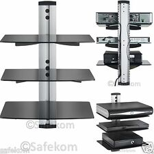 Floating Glass 3 Tier Wall Mount Shelves Shelf For DVD SKY BOX TV Game Console