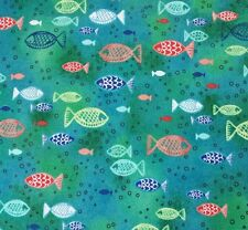 Dream Boats Janet Broxon BTY Quilting Treasures Ocean Fish Jade Teal Blues Green