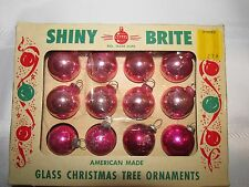 VINTAGE LOT Of 12 SMALL BALLS CHRISTMAS ORNAMENTS FEATHER TREE PINK