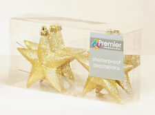 12 x champagne gold Glitter Stars shatterproof Christmas tree Baubles Decoration