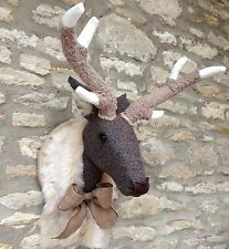 Handmade faux taxidermie harris tweed deer stag mural animal head trophy