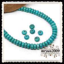 FREE LOT 50pcs Jewelry Making Turquoise Rondelle Loose Beads Strand Gemstone 8MM